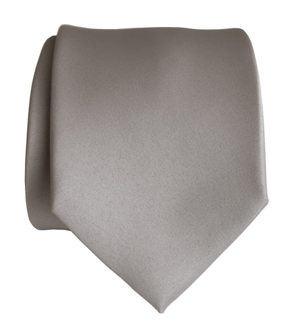 Oyster Necktie. Solid Color Light Grey Satin Finish Tie, No Print