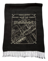 Packard Plant Engineering Blueprint Scarf, Detroit Map Linen-Weave Pashmina