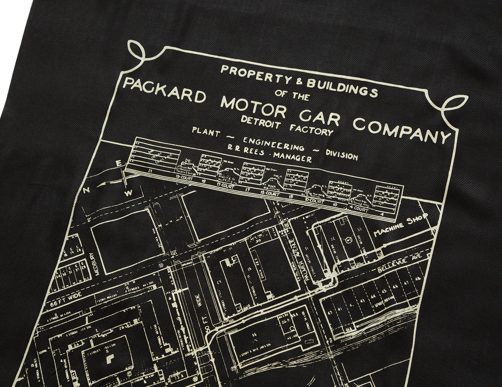 Packard Plant Engineering Blueprint Scarf, Detroit Map Pashmina