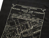 Packard Plant Engineering Blueprint Scarf, Gold on Black Linen-Weave Pashmina, by Cyberoptix