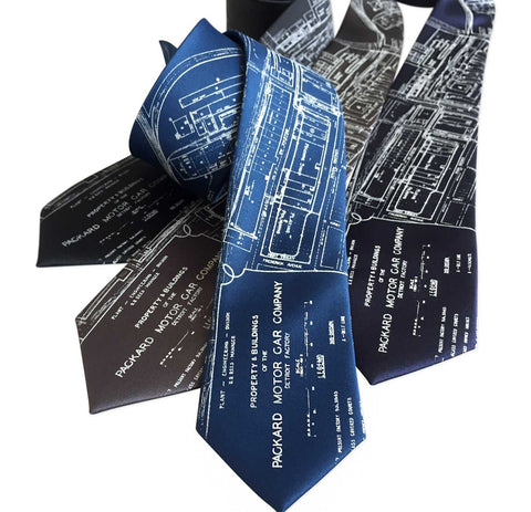 Detroit Map Necktie, Packard Plant Engineering Blueprint Tie
