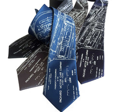 Packard Plant Engineering Blueprint Necktie, Detroit Map Tie