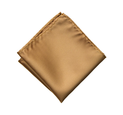 Pale Copper Pocket Square. Light Brown Solid Color Satin Finish, No Print