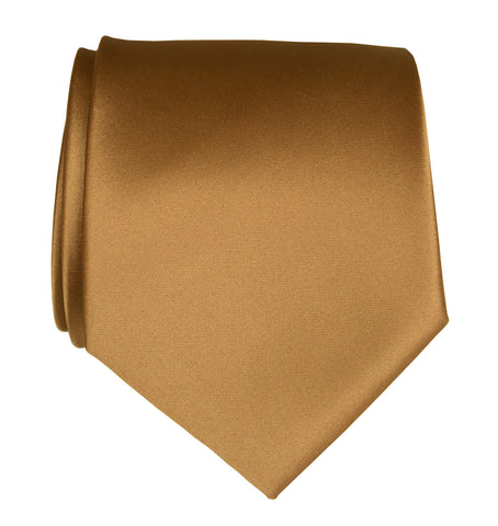 Pale Copper Necktie. Light Brown Solid Color Satin Finish Tie, No Print