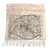 Paris Map Scarf, French map bamboo pashmina