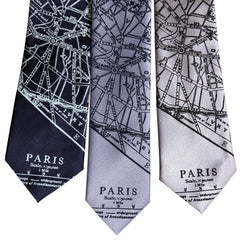 Paris Map Necktie, French Map Tie