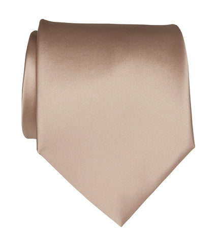 Peach Necktie. Light Pink Solid Color Satin Finish Tie, No Print