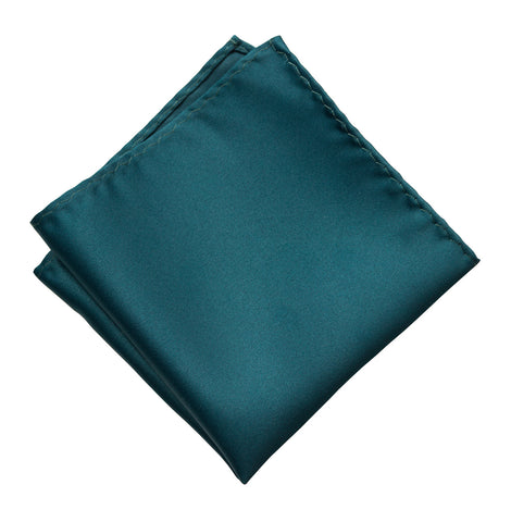 Peacock Blue Pocket Square. Dark Blue Solid Color Satin Finish, No Print