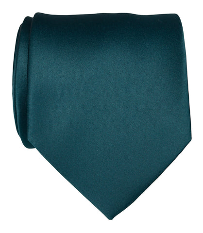 Peacock Blue Necktie. Dark Blue Solid Color Satin Finish Tie, No Print