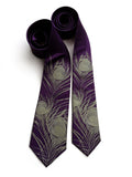 Eggplant purple peacock feather necktie.