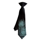 boys black and teal peacock feather clip-oln tie