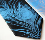 Peacock Feather necktie. Electric blue on black.