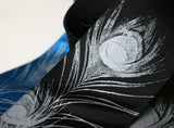 Silver ink on black, electric blue, black silk.