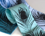 Peacock Feather Neckties. Black ink on aqua, turquoise, sky blue.