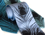 Peacock Neckties: Black print on sky blue, turquoise, aqua.