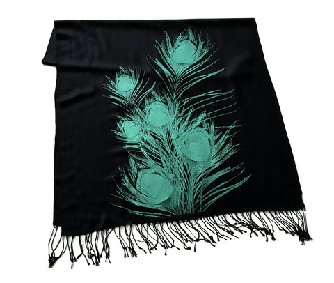 Peacock Feather Scarf. Linen weave pashmina