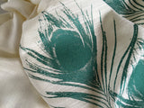 Peacock pashmina: teal on cream.