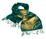 Peacock pashmina: gold on teal green.