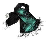 Peacock pashmina: teal on black.