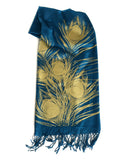 Peacock pashmina: gold on teal blue.