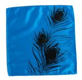 Black ink on electric blue pocket square.