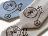 Penny Farthing Necktie. Antique Bicycle microfiber tie.