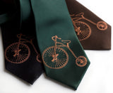 Penny Farthing Silk Necktie. Antique Bicycle tie.