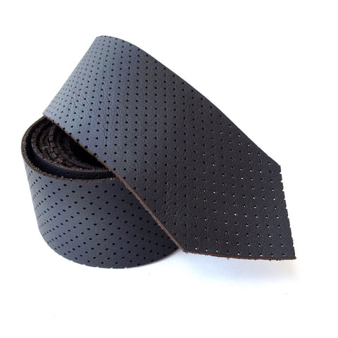 Perforated Black Leather Necktie, automotive leather tie