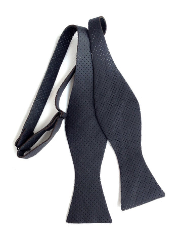 Perforated Black Automotive Leather Bow Tie