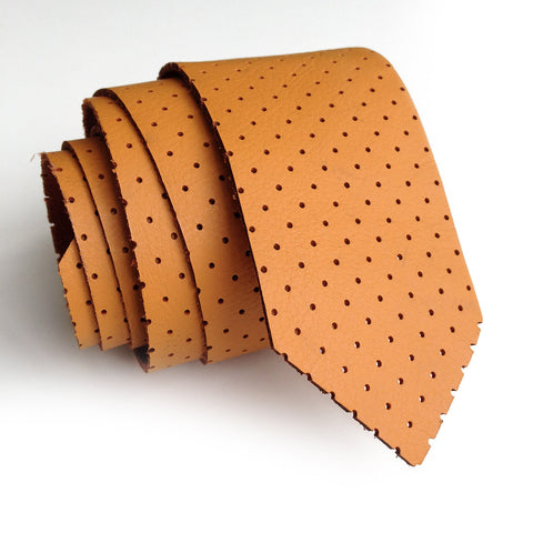 Perforated Burnt Orange Leather Necktie, automotive leather tie