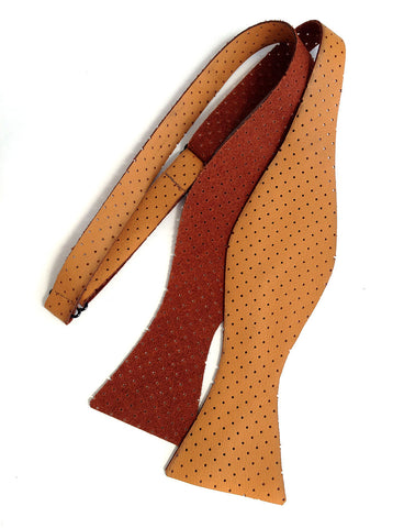 Perforated Burnt Orange Automotive Leather Bow Tie