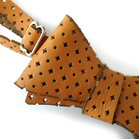 Automotive Burnt Orange Diamond Perforated Leather Bow Tie