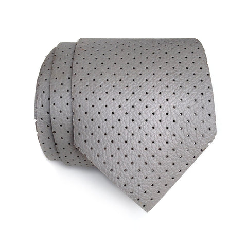 Perforated Dove Grey Leather Necktie, Automotive leather tie