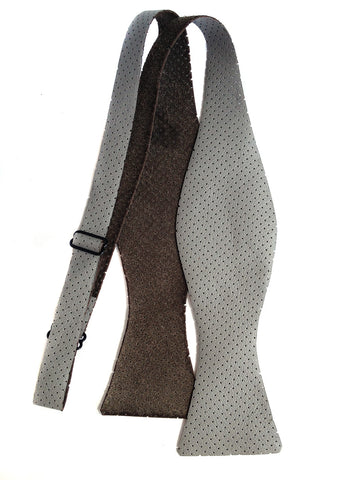 Perforated Dove Grey Automotive Leather Bow Tie