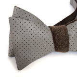 Dove Grey Perforated Leather Bow Tie, by Cyberoptix.