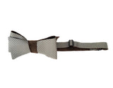 Dove Grey Perforated Leather Bow Tie.