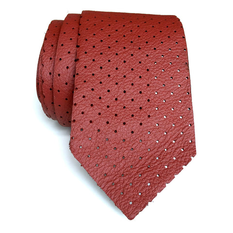 Perforated Oxblood Red Leather Necktie, automotive leather tie