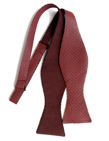 Perforated Oxblood Red Automotive Leather Bow Tie