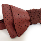 Oxblood Perforated Leather Bow Tie, by Cyberoptix