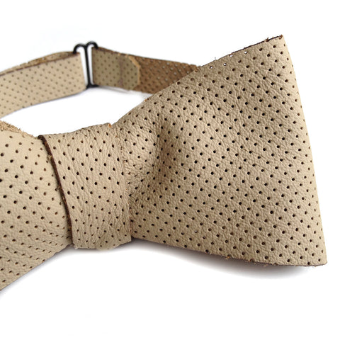 Perforated Tan Automotive Leather Bow Tie