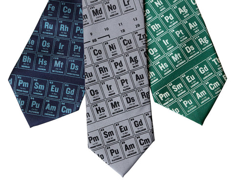 Periodic Table Silk Necktie. Science Print Tie