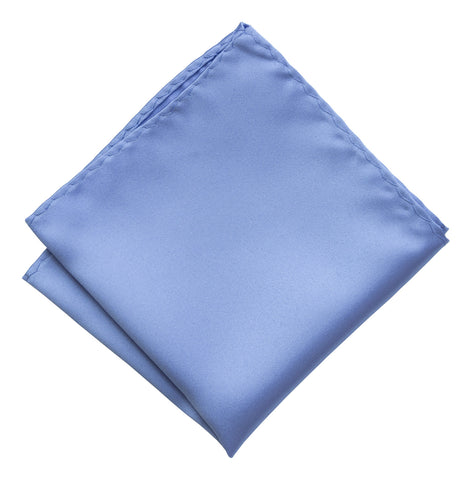 Periwinkle Pocket Square. Lavender Blue Solid Color Satin Finish, No Print