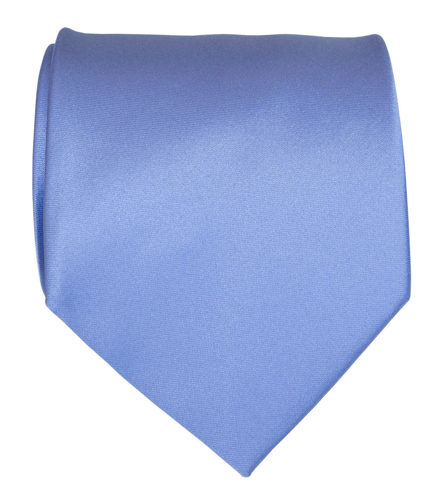 Periwinkle Necktie Lavender Blue Solid Color Satin Finish Tie No Print