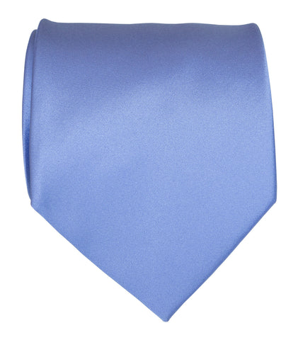 Periwinkle Necktie. Lavender Blue Solid Color Satin Finish Tie, No Print