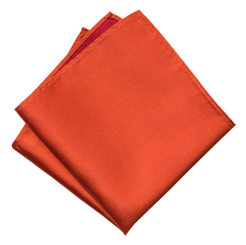 Persimmon Pocket Square. Red-Orange Solid Color Woven Silk, No Print