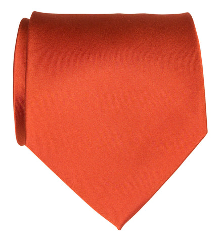 Persimmon Necktie. Red-Orange Solid Color Woven Silk Tie, No Print