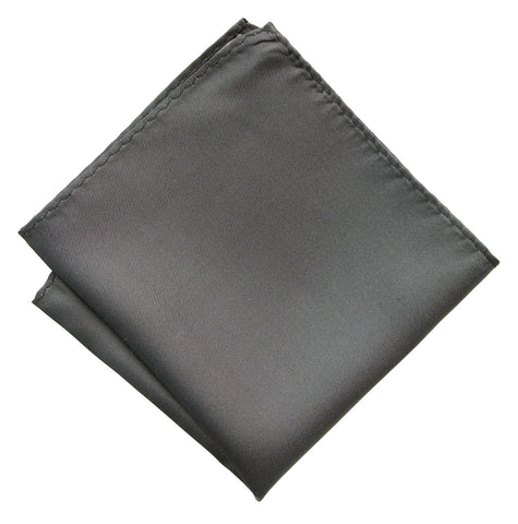 Pewter Shot Pocket Square. Dark Grey Solid Color Woven Silk, No Print