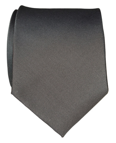 Pewter Shot Necktie. Dark Grey Solid Color Woven Silk Tie, No Print