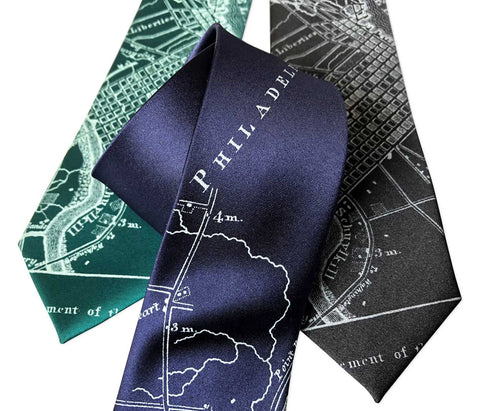 Philadelphia City Map Necktie, Pennsylvania Tie