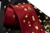 Burgundy and gold pill necktie
